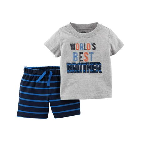 Baby Boy Short Sleeve Shirt & Shorts, 2pc Outfit Set - Blue And Yellow Cheerleader Outfit