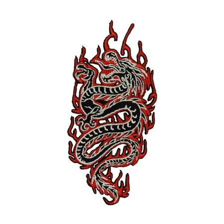 Chinese Dragon In Flames Patch Fantasy Fire Mythical Embroidered Iron On (Fire Flame Dragon)