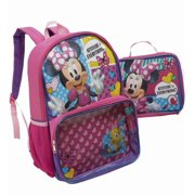 Minnie Mouse Glittery Backpack With Detachable Lunch Box Travel School Pack