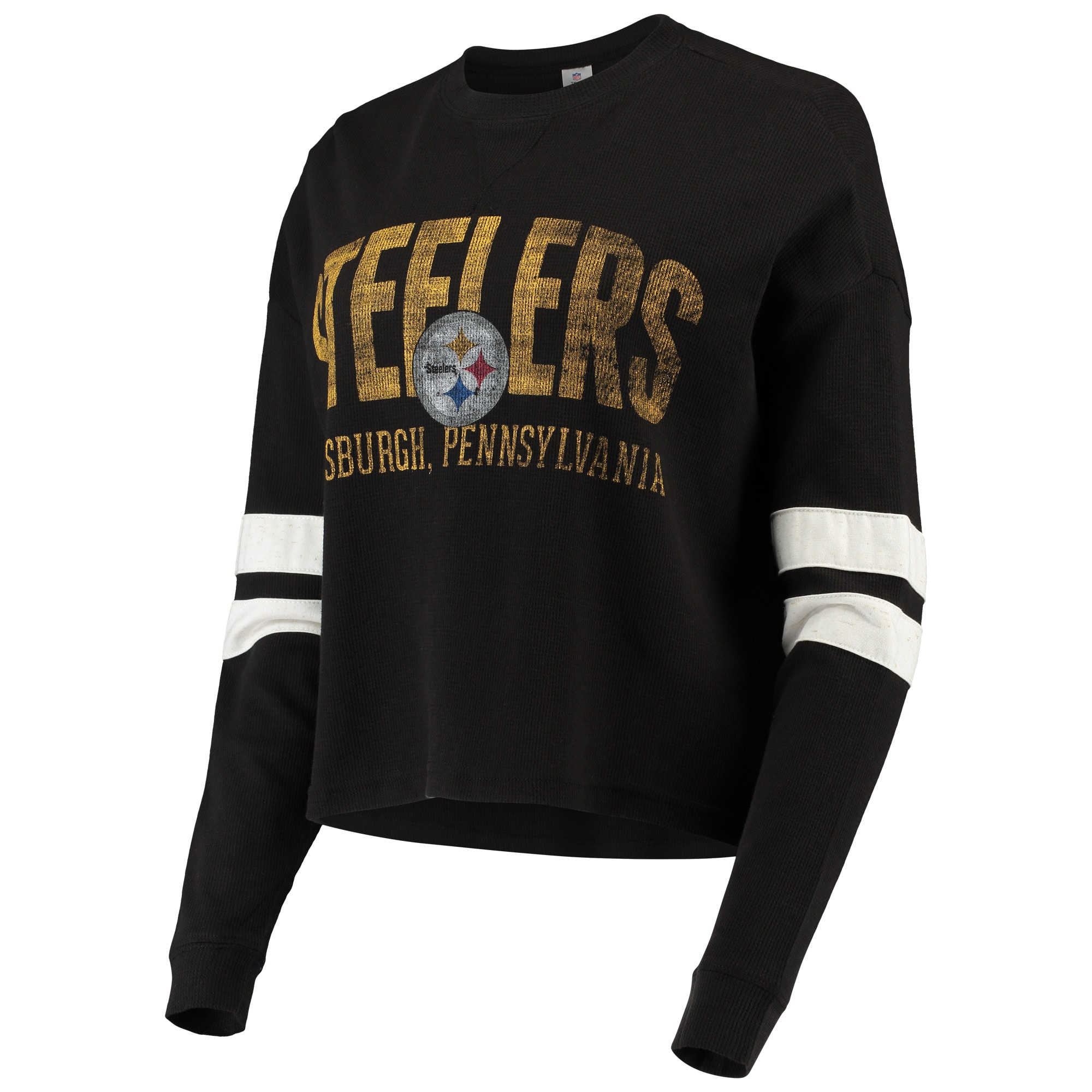 Black Mens Crew Neck Pittsburgh Steelers Cut And Sew Long Sleeve T-Shirt