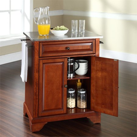 Crosley LaFayette Stainless Steel Top Portable Kitchen Island in Cherry - image 3 of 6