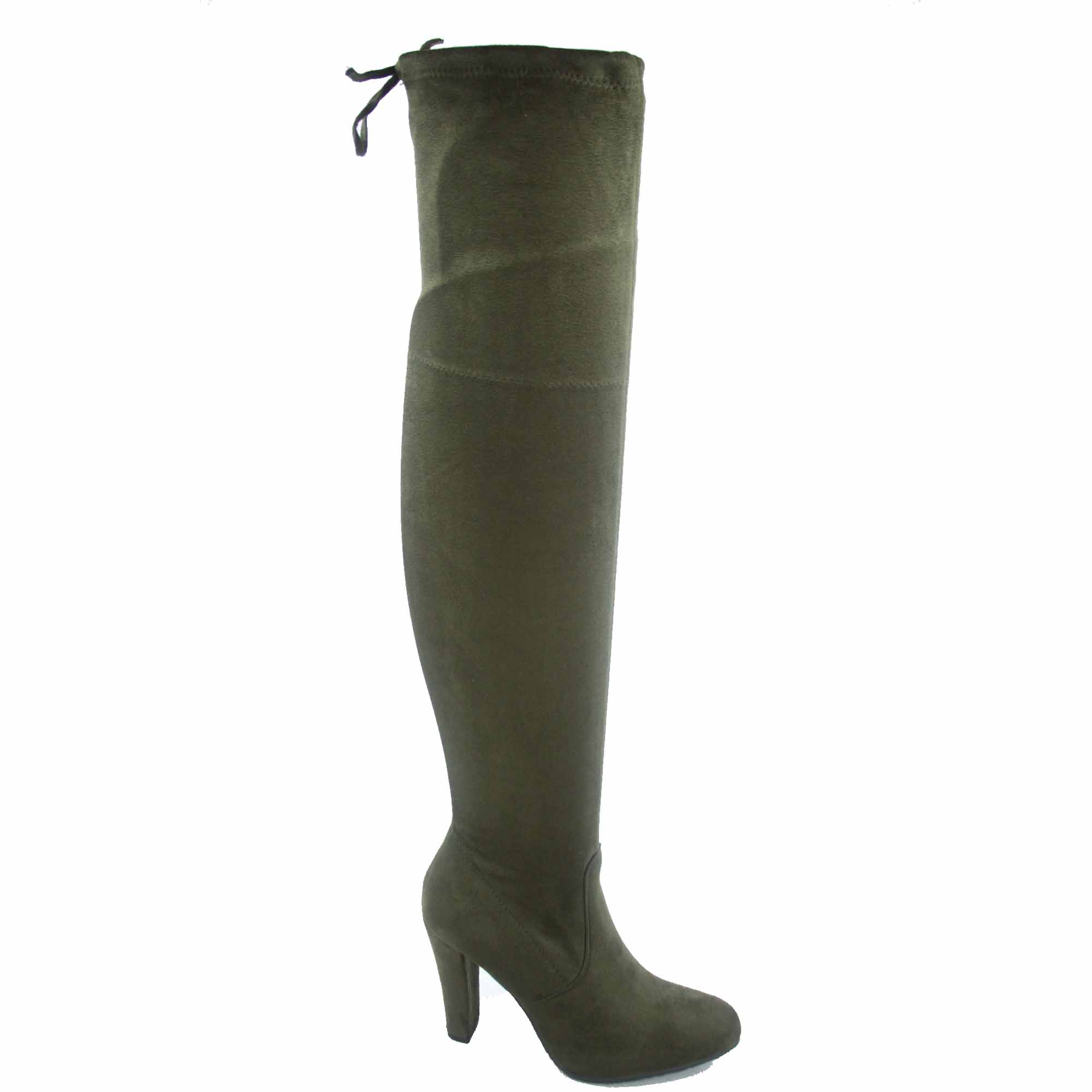 Dasia-H1 Women's Fashion Almond Toe Over The Knee Stretchy Snug Drawstring High Heel Boots