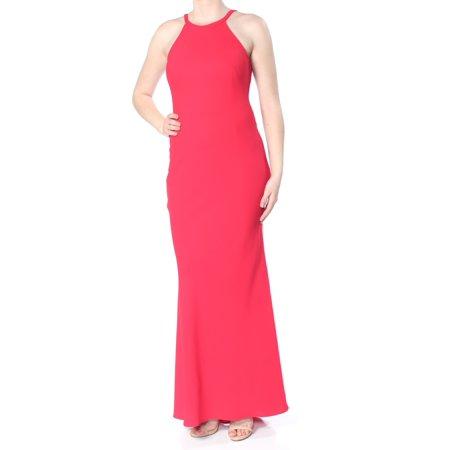 Ladies Column (AQUA Womens Red Darted Low Back Column Sleeveless Halter Full-Length Formal Dress  Size: 10 )
