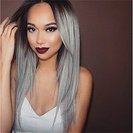 Best Hair Wig For Women - Straight Brown Root To Grey Ombre Synthetic