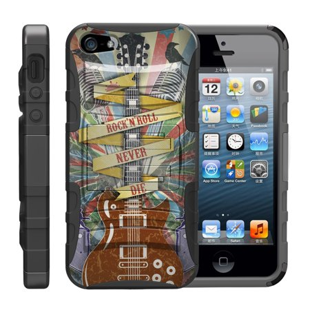 - TurtleArmor ® | For Apple iPhone SE | iPhone 5 | iPhone 5s [Hyper Shock] Hybrid Dual Layer Armor Holster Belt Clip Case Kickstand - Rock N Roll Never Die