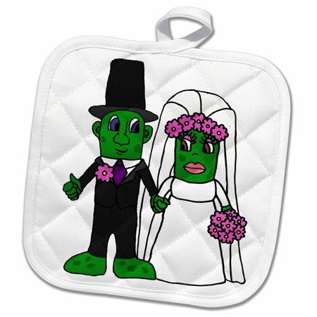 3dRose Funny Bride and Groom Pickle Wedding Cartoon - Pot Holder, 8 by
