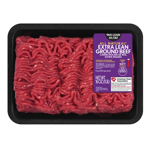 96 Lean 4 Fat Extra Lean Ground Beef Tray 1 Lb