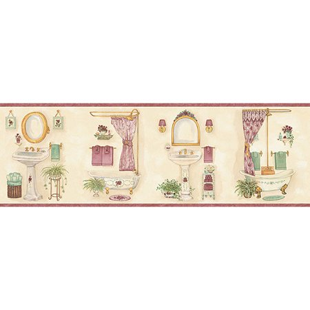 Blue Mountain Vintage Bathroom Wallpaper Border Pink