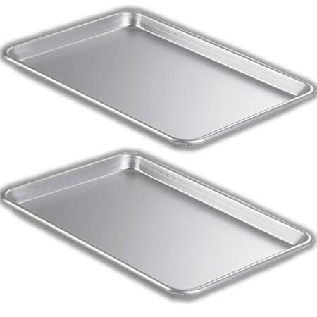 2 Piece Bakeware Set – 2 Aluminum Oven Sheet Pans, (Stainless Steel) – Half Size (13
