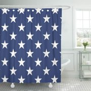 CYNLON Red White Stars and Stripes Patriotic Blue Patriotism Old Bathroom Decor Bath Shower Curtain 66x72 inch