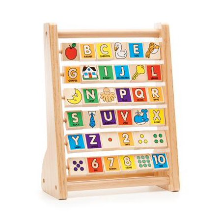 Melissa & Doug ABC-123 Abacus, Classic Wooden Educational Toy with 36 Letter and Number - 1 Year Old Learning Toys