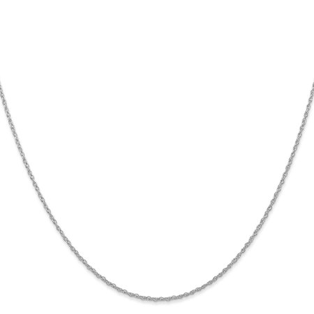 14k White Gold 1.0mm Carded Cable Rope Chain Necklace 20