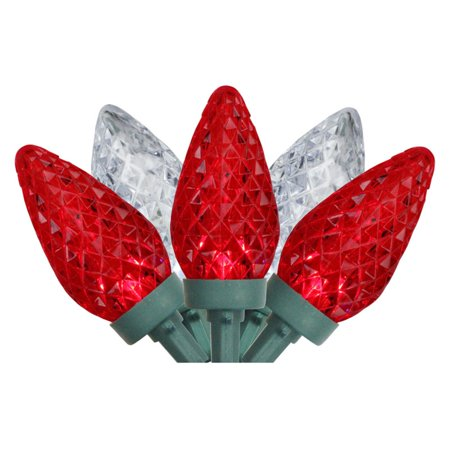 Northlight 100 Red and Pure White Faceted LED C9 Christmas Lights on Green Wire ()
