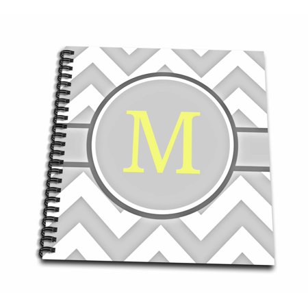 Monogram Memory (3dRose Grey and white chevron with yellow monogram initial M - Memory Book, 12 by 12-inch )
