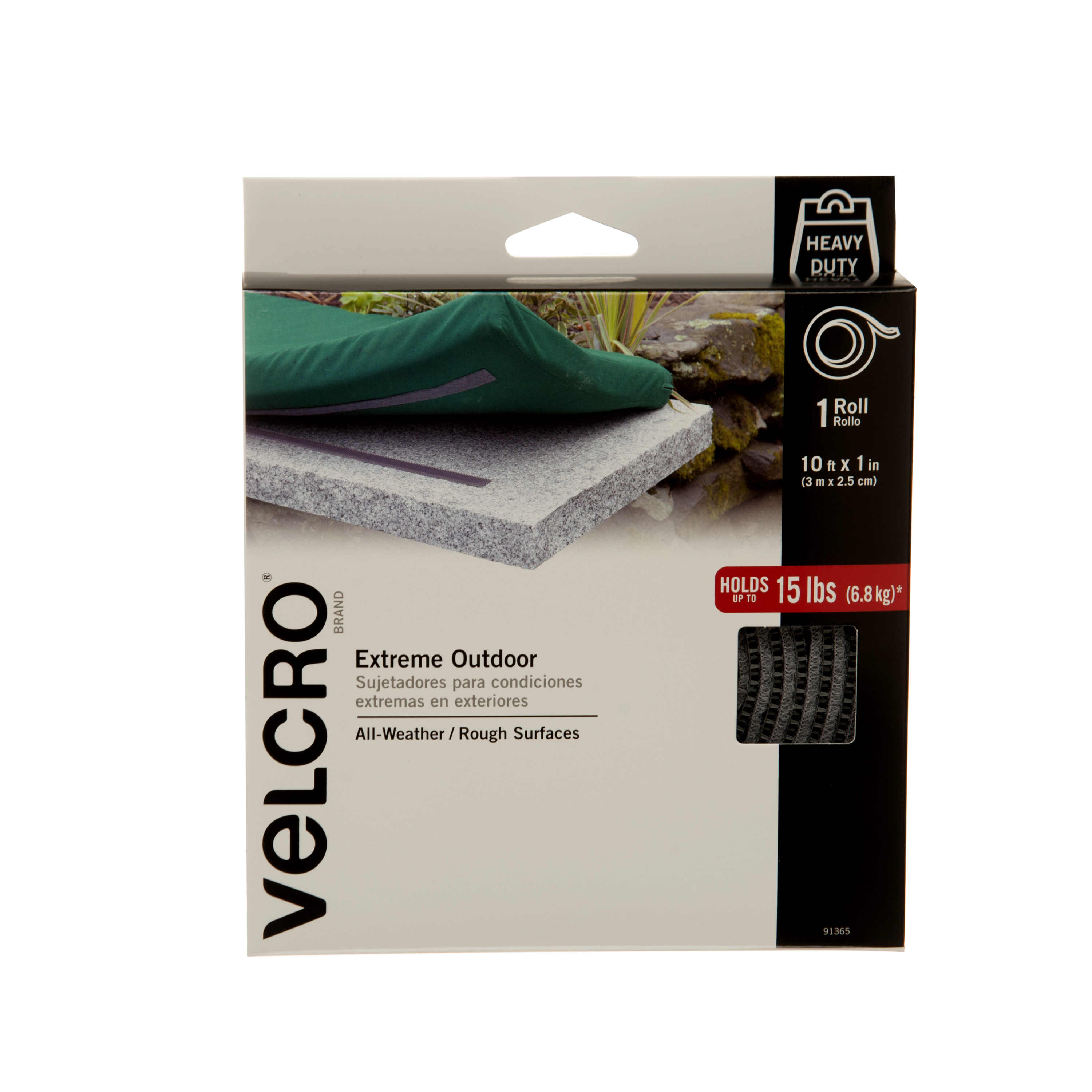 VELCRO® Brand Extreme Outdoor 10ft x 1in Roll, Titanium