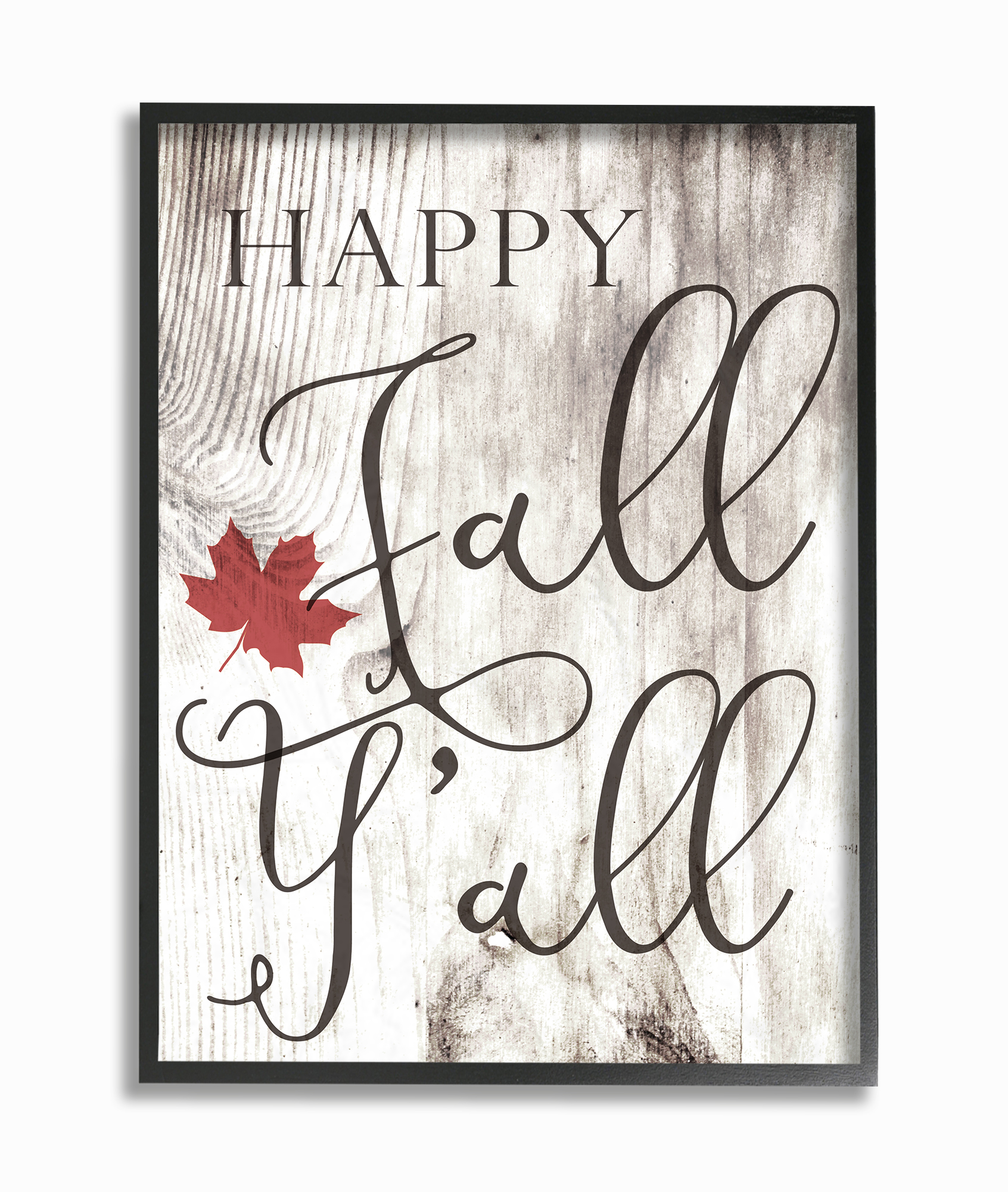 The Stupell Home Decor Collection Happy Fall Y'all Typography Sign Oversized Framed Giclee... by Stupell Industries