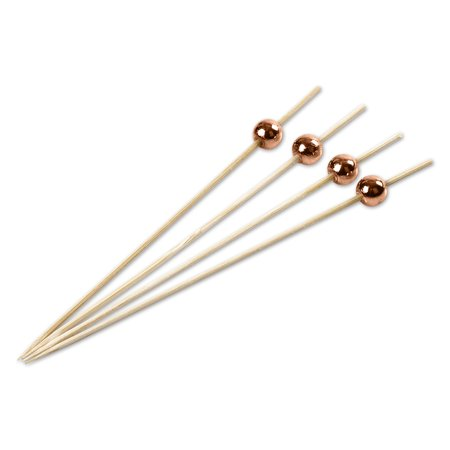 Andaz Press Natural Bamboo Drink Stirrer Cocktail Picks, 5-Inch with Copper Pearl Bead, Toothpicks, 100 Pack