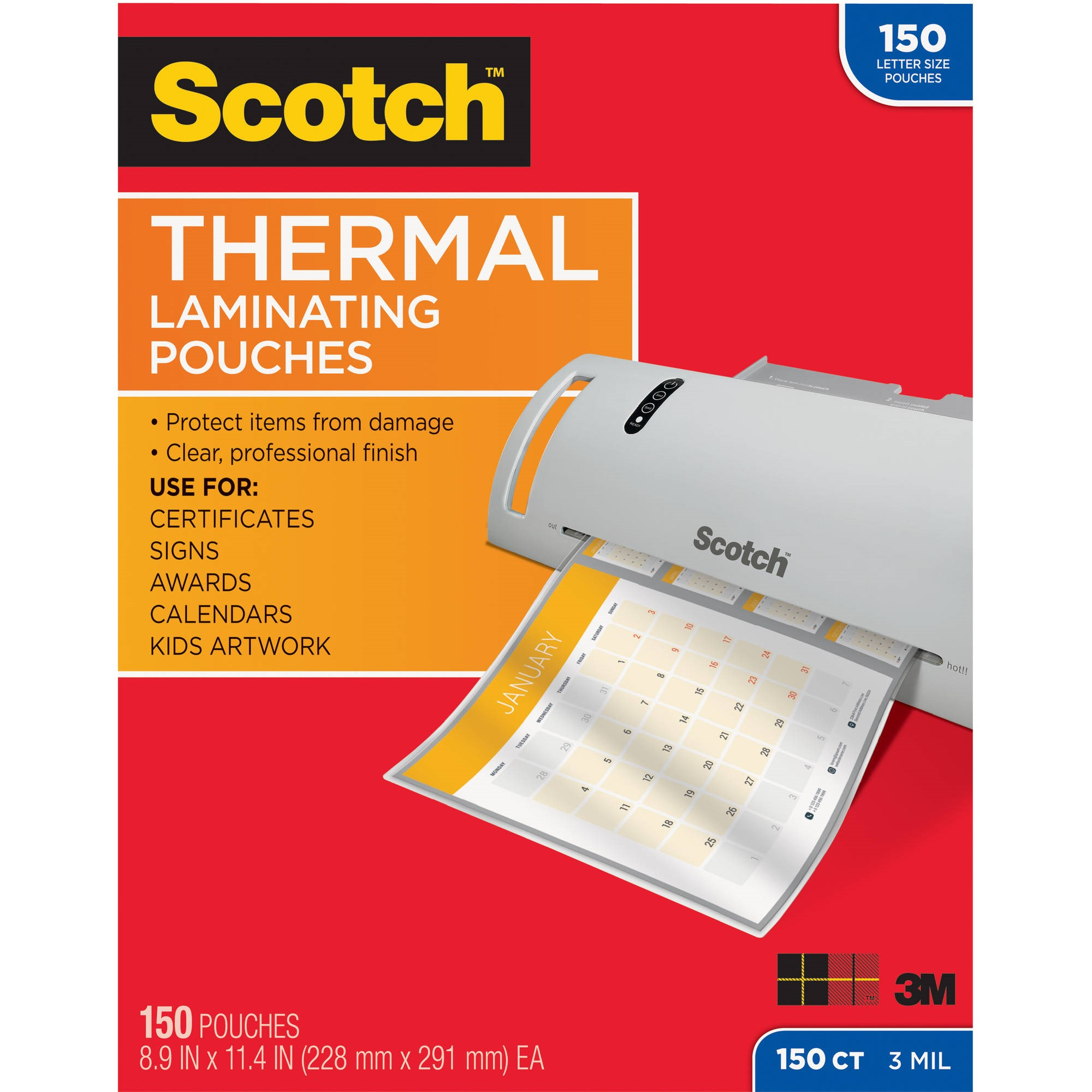 Scotch Thermal Laminating Pouches 150 pack, Letter Size, 9.5in 11.5in., 3mil Thickness, 150 Pouches per Pack
