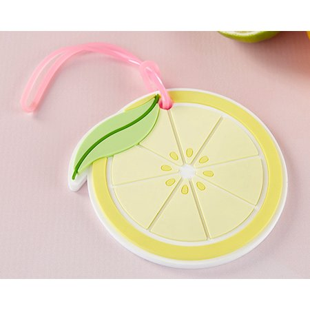 Kate Aspen Lemon Slice Luggage Tag Wedding Favor or Party Favor for Bridal Showers, Baby Showers or Birthdays - Set of 24 Luggage Tag Wedding Favors