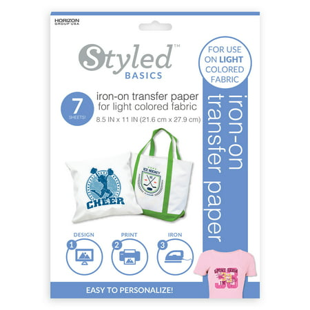 Styled Basics Print & Transfer Sheets for Light-Colored Fabrics, For Use with Ink Jet Printer, Includes 7 - 8.5u0022 x 11u0022 Sheets, Packaging May Vary