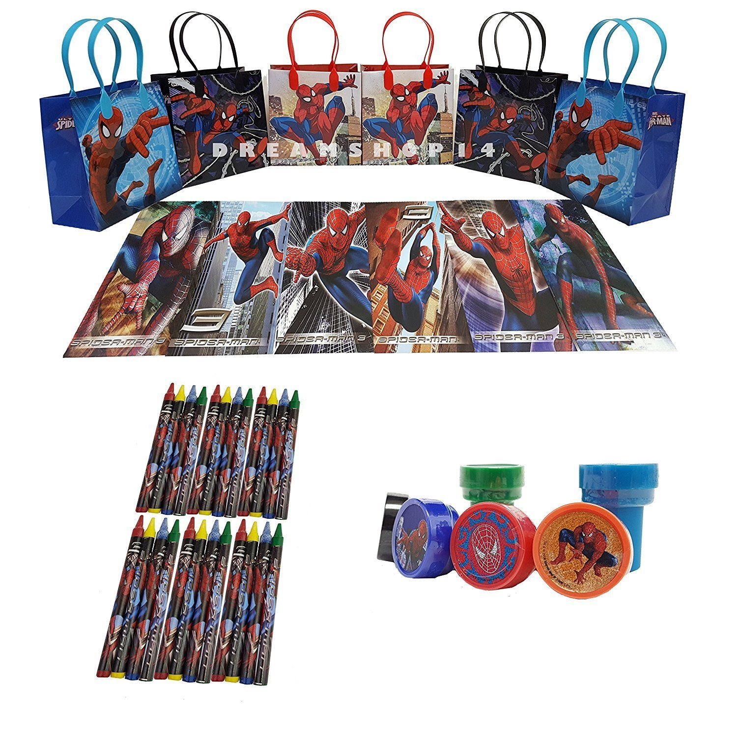 Marvel Spider Man 6 Pcs Gift Bag party favor set pack w/coloring book (42pcs)