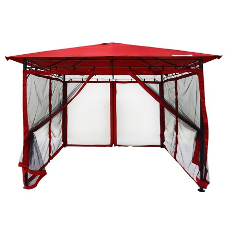 Backyard Patios Decks (Quictent 10x10 Gazebo Canopy with Mosquito Netting Screened Garden Gazebo Canopy Soft top for Deck, Patio and Backyard Waterproof (Red) )