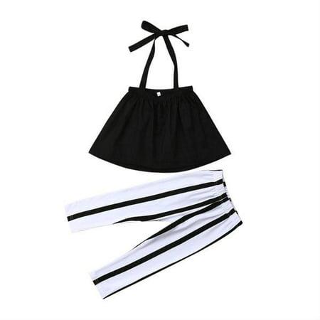 Toddler Baby Girl Halter Strap Crop Top Stripe Legging Pant Outfit