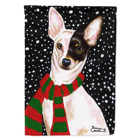 Snowy Chihuahua Flag Canvas House Size