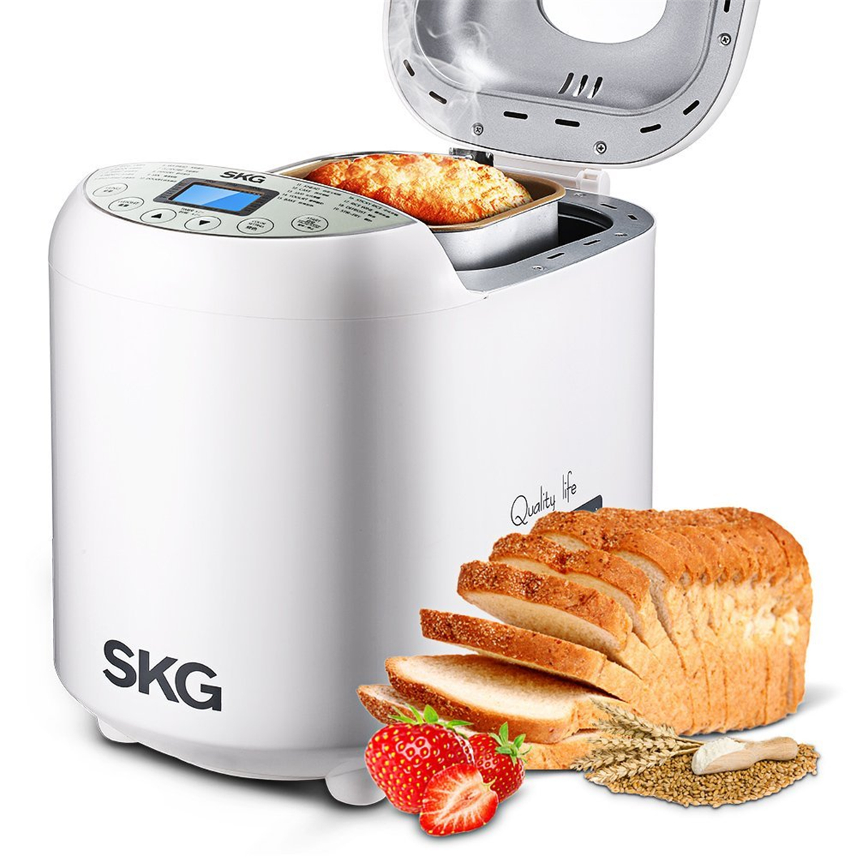 SKG 2LB Automatic Electric Bread Maker Machine Beginner Friendly Bread Maker with Recipes Manual(19 Programs, 3 Loaf Sizes, 3 Crust Colors, 15 Hours Delay Timer, 1 Hour Keep Warm)