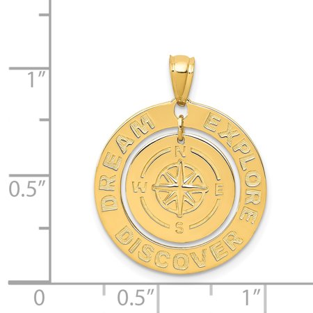 14k Yellow Gold Dream Explore Discover Compass Pendant Charm Necklace Sea Shore Boating Man Fine Jewelry For Dad Mens Gifts For Him - image 3 of 6
