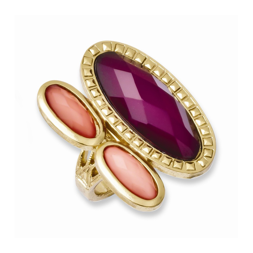 Laundry Gold-tone Peach & Raspberry Resin Stones Ring
