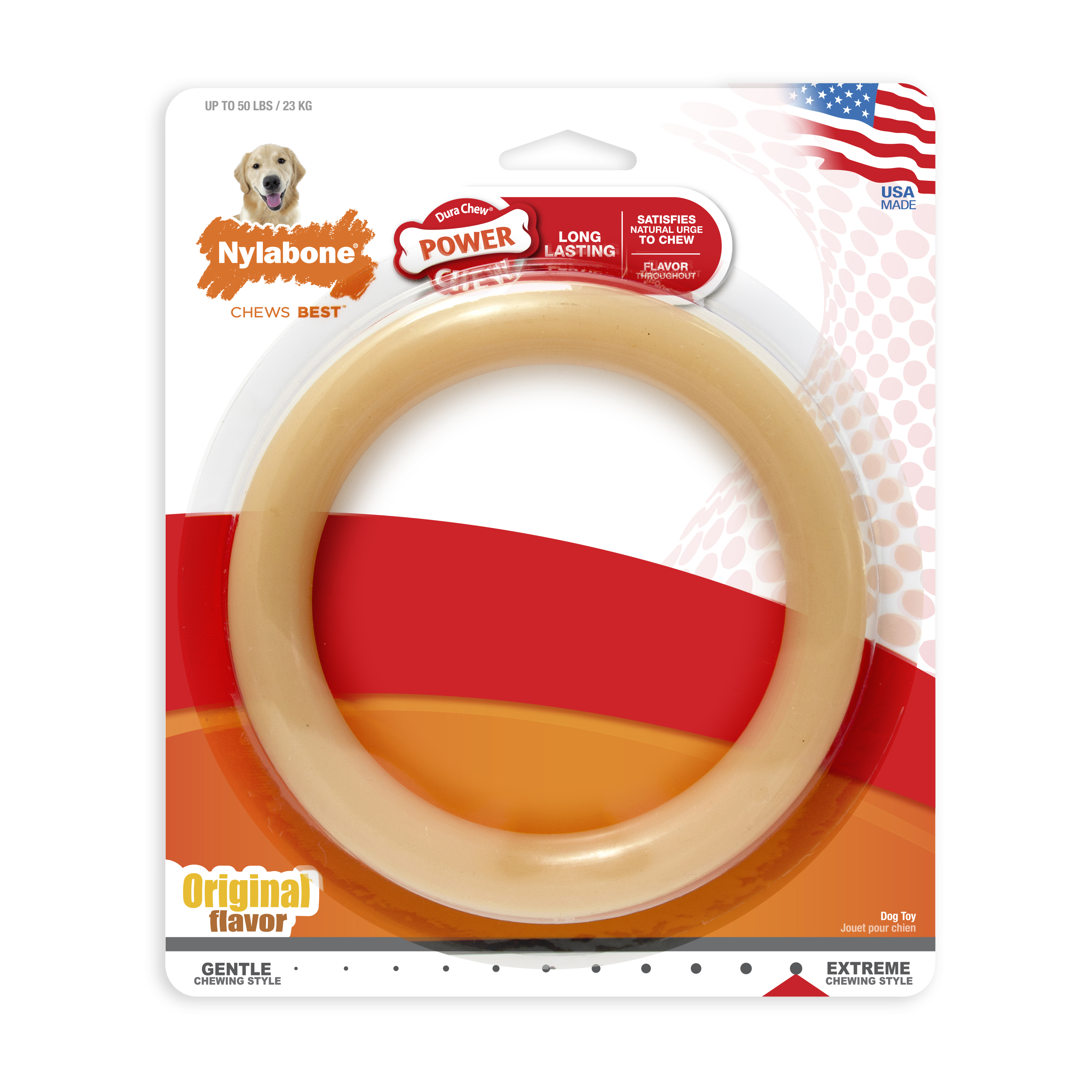 Nylabone Ring Power Chew Dura Chew Toy for Large Dogs, Original