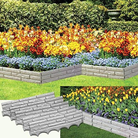 5PC. FAUX STONE GARDEN BORDER - COVERS 9FT. OF YARD! ()