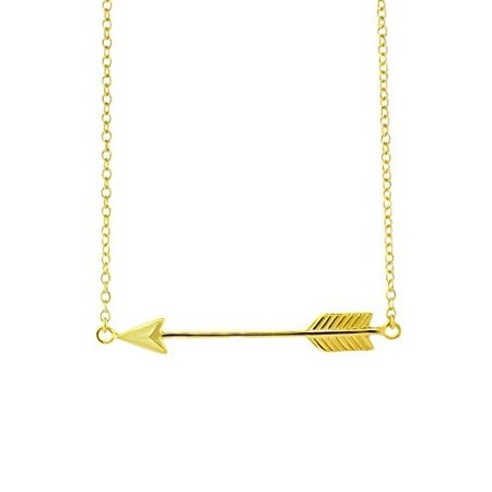 Beaute Fashion .925 Side LOVE ARROW Necklace Sterling Silver Jewelry 16 inch + 2 inch Extender Chain Pendant - Gift Boxed (Gold Tone) Two Tone Gold Natural