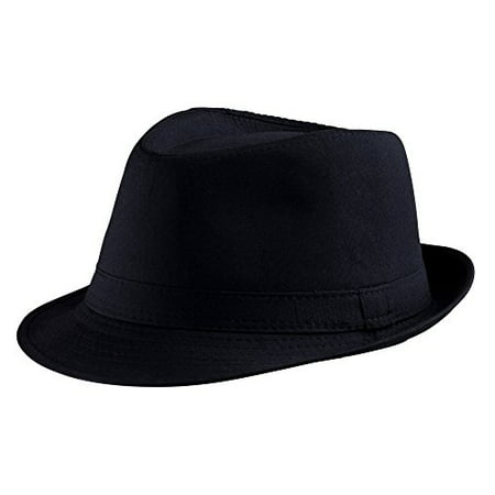 Dress Up America Black Fedora Hat (Pinstriped Fedora Gangster Hat)