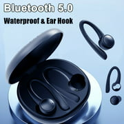 Bluetooth5.0 Wireless Dual Action Ring Headphones Earphones Sports Ear Hook Run Earbuds With MIC