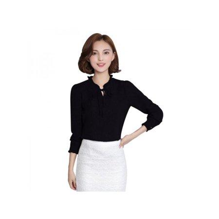 Nicesee Elegant Women Long Sleeve Chiffon Shirt Ruffle Collar Blouse Career Suits