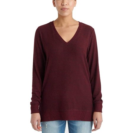 Lucky Brand Ladies' V-Neck Tunic Long Sleeves Pullover Red Long Tunic