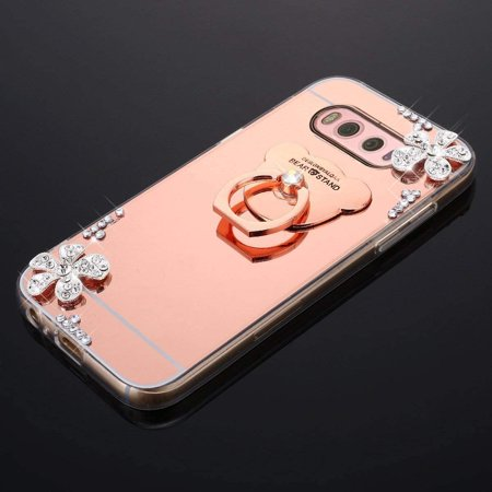 HMTECHUS Case for Samsung S10e Luxury Bling Crystal Diamond Rhinestone Shining Ring Holder Stand Miror Makeup TPU Bumper Cover Case for Samsung Galaxy S10e Rose Gold Flower Mirror TPU - image 2 de 3