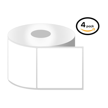 "OfficeSmartLabels 4"" x 4"" Thermal Transfer Labels, Zebra Compatible Labels (4 Rolls, 350 Labels Per Roll, 1 inch Core, White, 4"" Diameter, Perforated)"