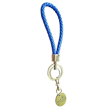 Double Ring Fashion BV Braided Leather Key-Chains Handbags Charms(Blue)
