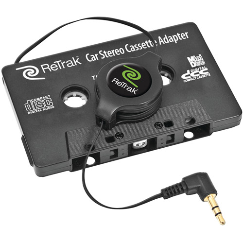 ReTrak ETCASSETTEB Retractable Stereo Cassette Adapter, Black