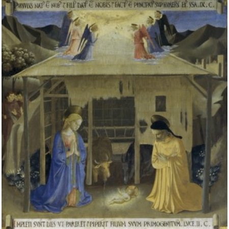 The Story of the Life of Christ Detail Nativity Fra Angelico ca( 1400-1455Italian)  Museo di San Marco Florence Poster Print - City Of San Marcos Ca