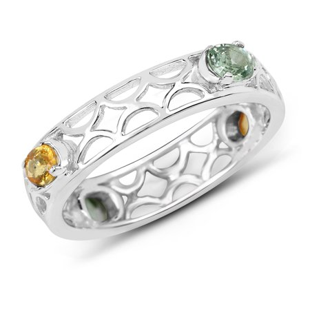 925 Sterling Silver Genuine Green Sapphire and Orange Sapphire Ring (0.88 Carat) Multiple Sizes