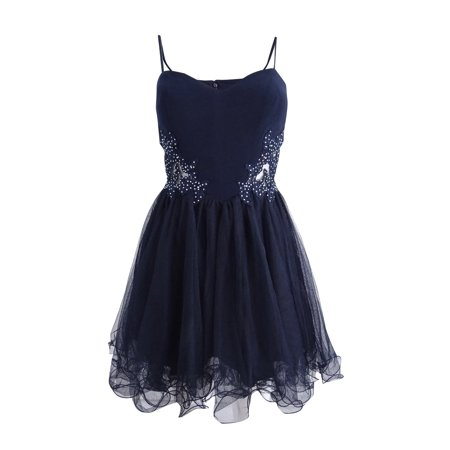 Blondie Nites Juniors' Embellished Colorblocked Fit & Flare Dress (3, Navy) (550 Nit)