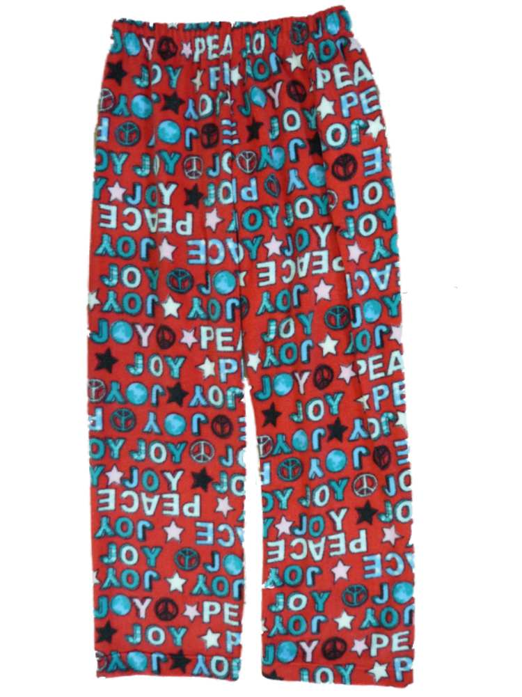 Girls Red Holiday Fleece Sleep Pants Peace & Joy Pajama Bottoms Lounge