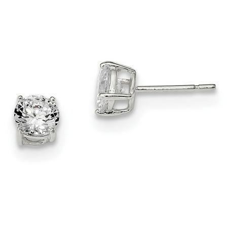 - Sterling Silver Radiant Cut Post Earrings Basket setting 6mm Cubic Zirconia Stud Earrings