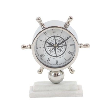 Decmode Coastal 8 X 9 Inch Stainless Steel And Marble Ships Wheel Table Clock