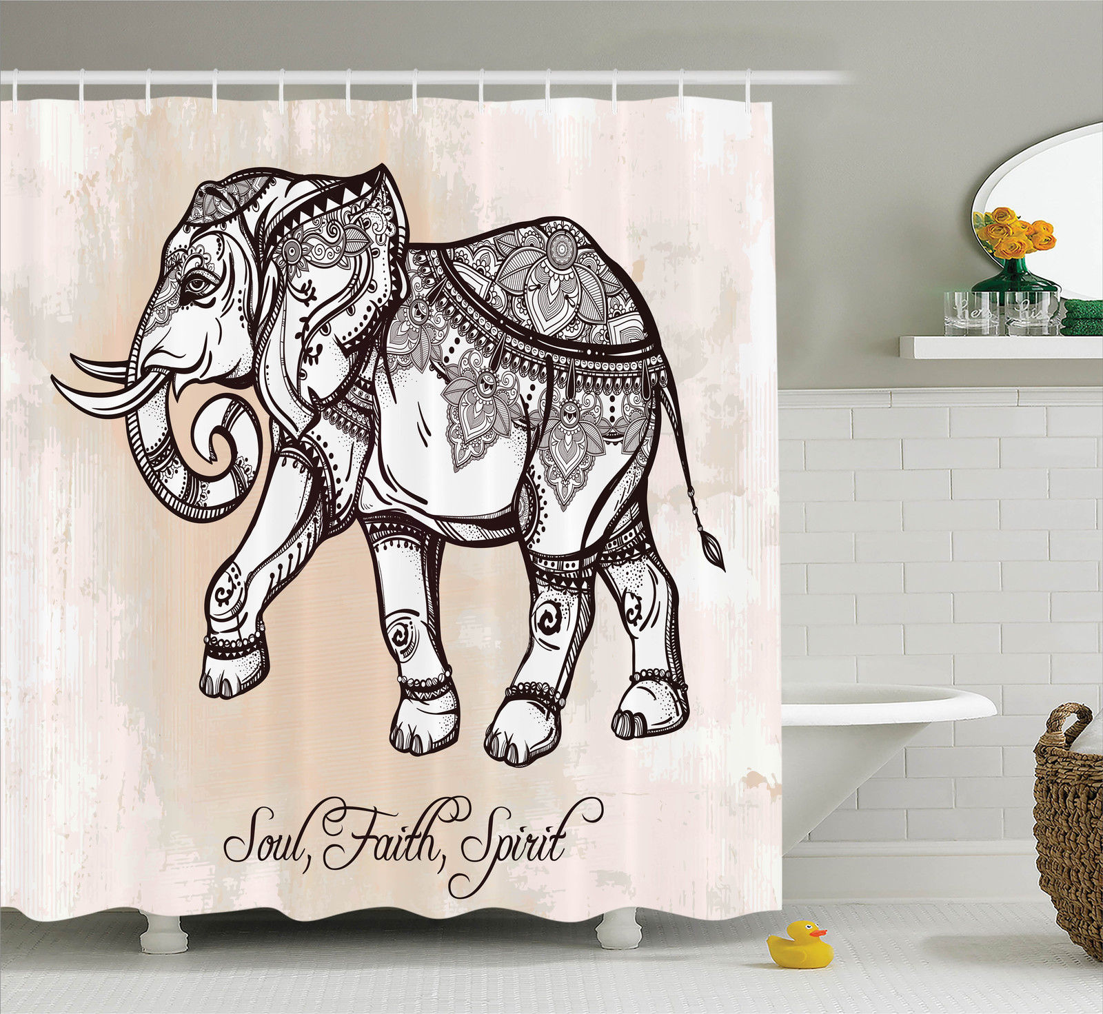 Elephants Decor Shower Curtain Set, Indian Ethnic Elephant Illustration Oriental Mandala Style Patterns Boho Home Decor, Bathroom Accessories, 69W X 70L Inches, By Ambesonne