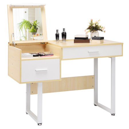 Costway Vanity Table with Flip Top Square Mirror Makeup Dressing Table Writing Table](Squre Up)